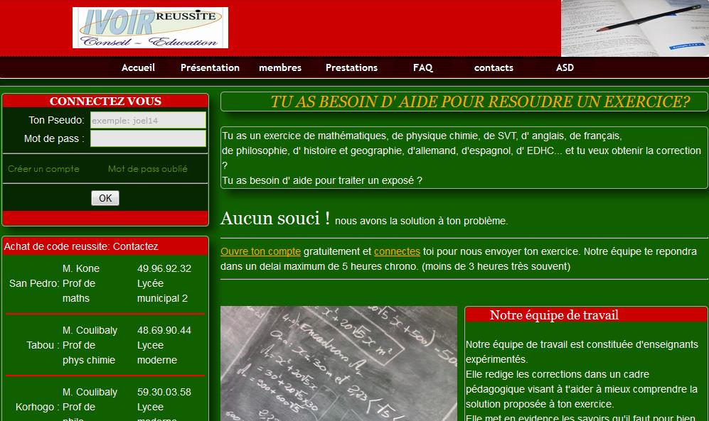 ivoirreussite.net: le site qui aide à resoudre les exercices des collégiens et lycéens ivoirien (1/2)